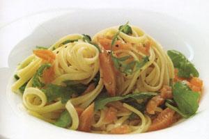 макароны с рукколой и лососем - обед, богатый кальцием